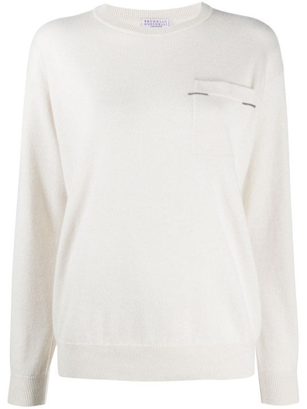 Brunello Cucinelli patch pocket cashmere-knit top in neutrals