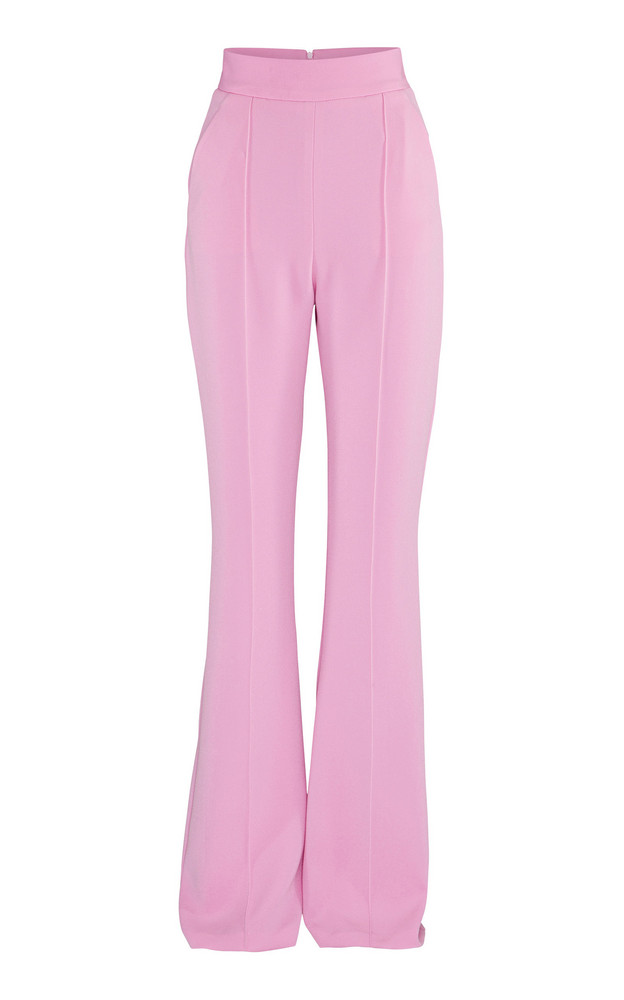 Alex Perry Leighton Flare-Leg Crepe Pants in pink
