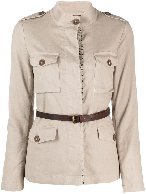 Bazar Deluxe belted shirt jacket in neutrals