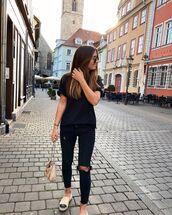 jeans,black jeans,ripped jeans,espadrilles,black t-shirt,bag