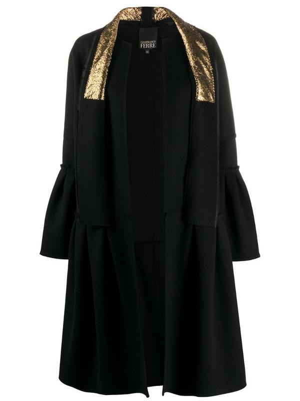 Gianfranco Ferré Pre-Owned ruffled details knee-length coat in black