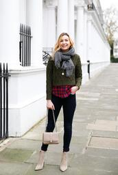 cocos tea party,blogger,sweater,shirt,jeans,coat,scarf,bag,shoes,jewels,green sweater,ankle boots,black jeans