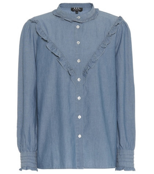 A.P.C. Ruffled chambray blouse in blue