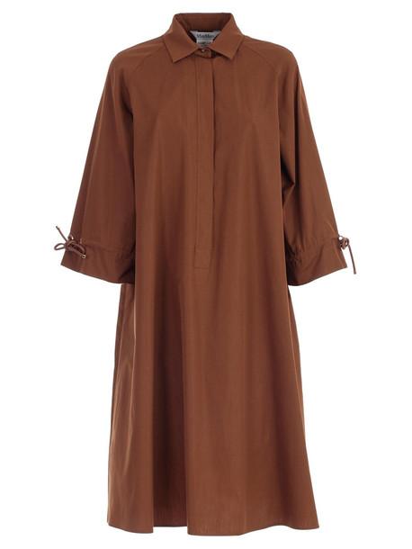 Max Mara Ruffle Sleeve Dress in brown