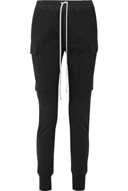 Rick Owens - Poplin-trimmed Cotton-jersey Track Pants - Black