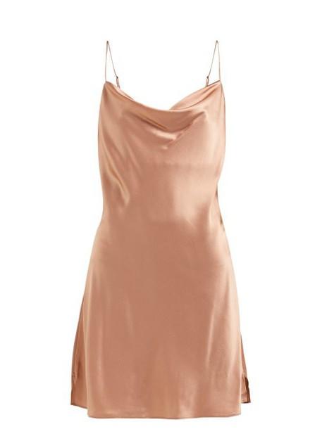 Skin - Silk Blend Satin Slip Dress - Womens - Light Brown