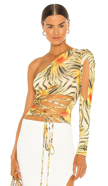 Kim Shui Cut Out Sleeve Tie Top in Yellow in multi