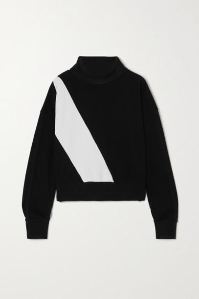 AARMY - Two-tone Cotton-jersey Turtleneck Sweatshirt - Black