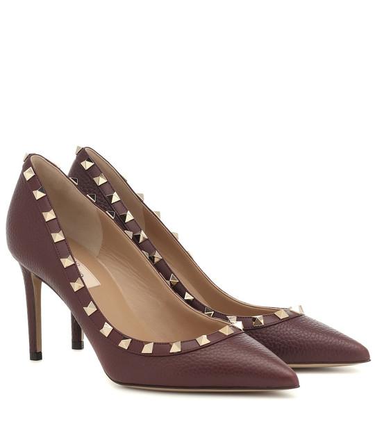 Valentino Garavani Rockstud leather pumps in purple
