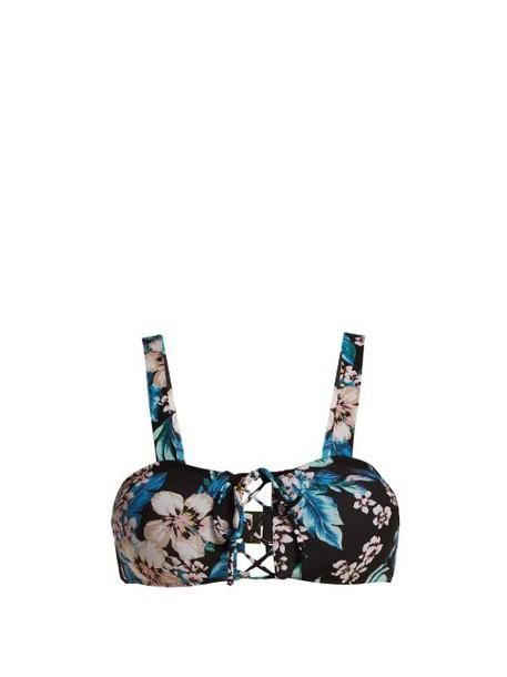 Diane Von Furstenberg - Cheeky Lace Up Bikini Top - Womens - Black Print