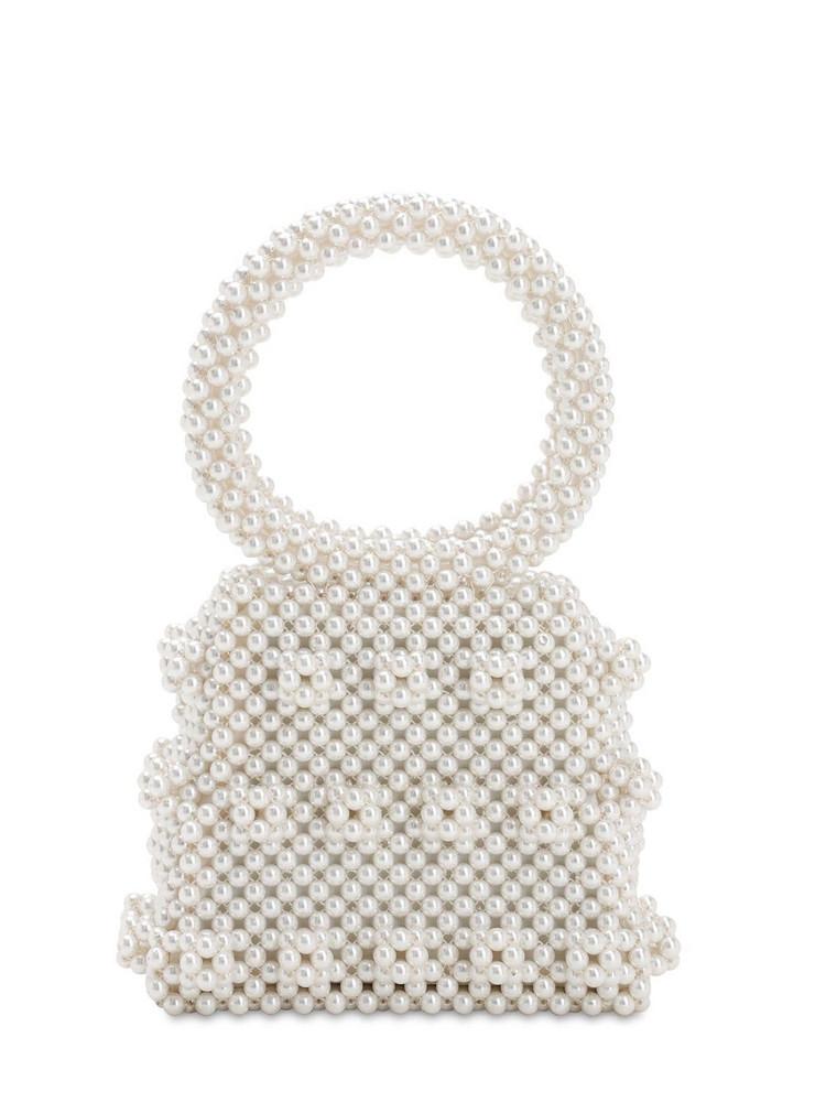 SHRIMPS Dante Beaded Top Handle Bag in cream