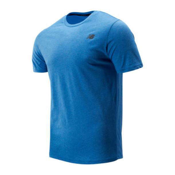 New Balance 73080 Men's Heather Tech Short Sleeve - Blue (MT73080LBE)