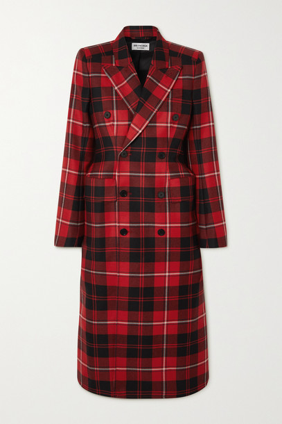 Balenciaga - Hourglass Double-breasted Checked Wool-twill Coat - Red