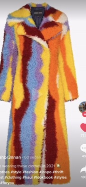 coat,colorful teddy coat