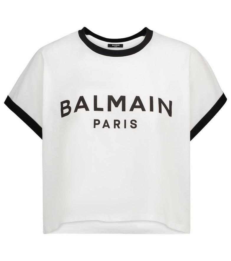 Balmain Logo cropped cotton-jersey T-shirt in white