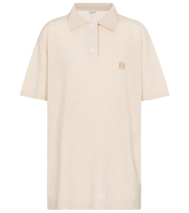 Loewe Anagram cashmere polo shirt in beige