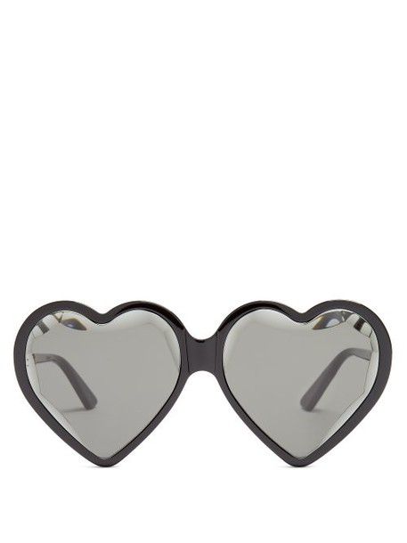 Gucci - Heart Shaped Frame Sunglasses - Womens - Black Multi