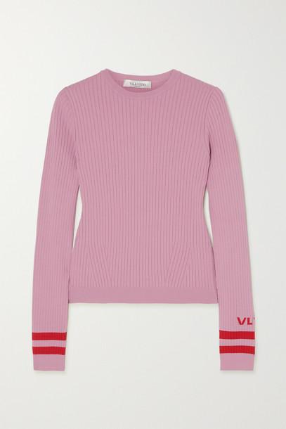 VALENTINO - Intarsia Ribbed-knit Sweater - Pink