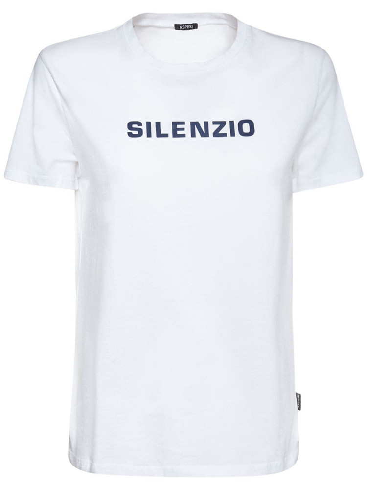 ASPESI Printed Cotton Jersey T-shirt in black / white
