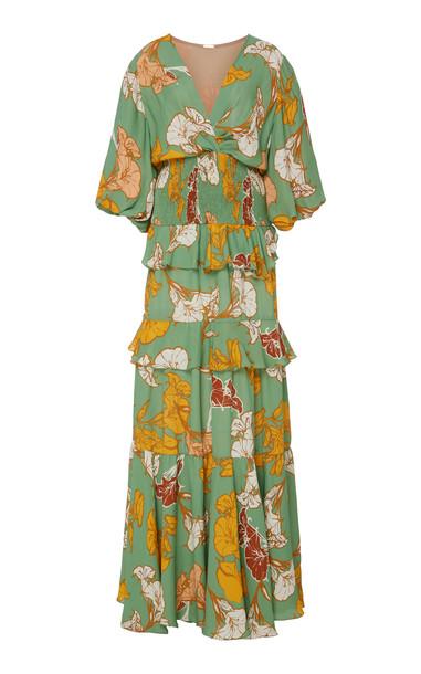 Johanna Ortiz Voilà It'S Art Tiered Floral Maxi Dress