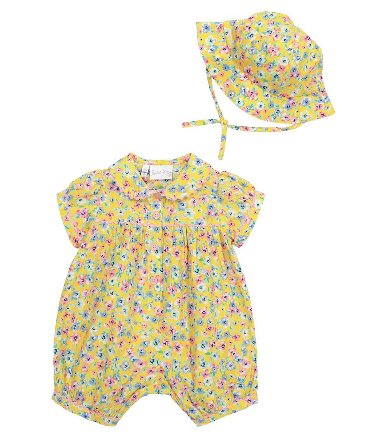 Rachel Riley Baby floral cotton playsuit and bucket hat set in yellow