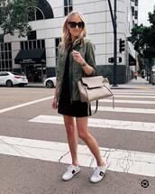 dress,black dress,mini dress,short dress,army green jacket,white sneakers,gucci,bag