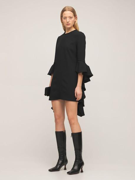 ELLERY Kilkenny Ruffled Sleeve Crepe Mini Dress in black