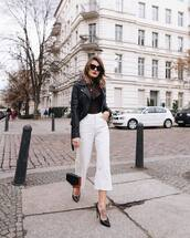 jeans,white jeans,cropped jeans,high waisted jeans,pumps,shoulder bag,black leather jacket,turtleneck