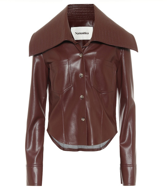 Nanushka Kiara faux leather shirt in brown