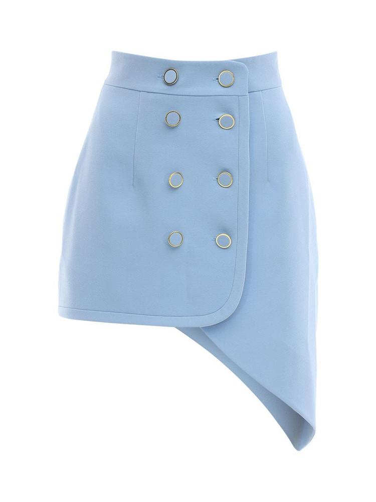 GEORGE KEBURIA Asymmetrical Crepe Mini Skirt in blue