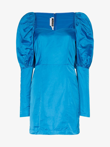 Rotate Pouf Shoulder Mini Dress in blue