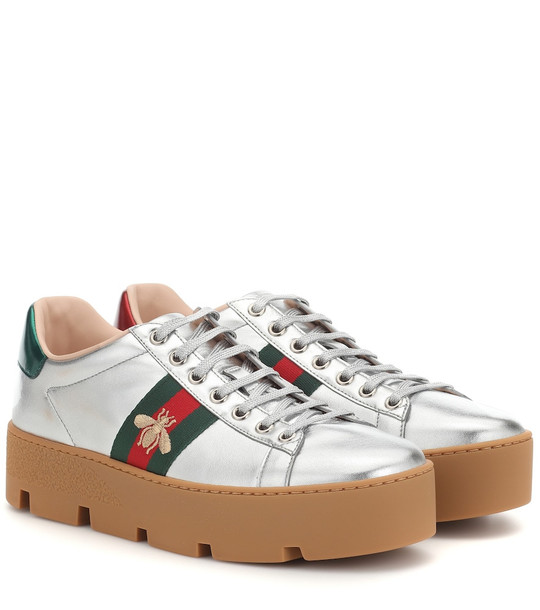 Gucci Ace leather platform sneakers in metallic