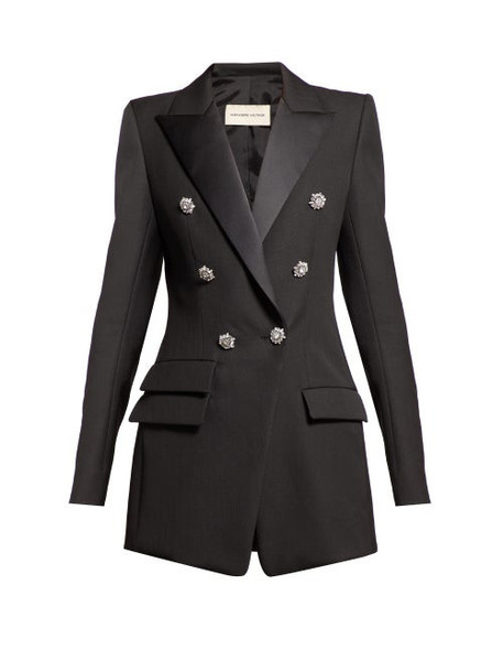 Alexandre Vauthier - Crystal Button Double Breasted Wool Blazer - Womens - Black