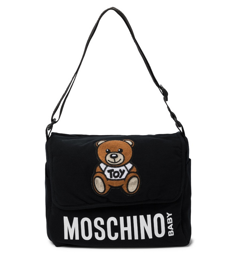 Moschino Kids Embroidered stretch-cotton changing bag in black