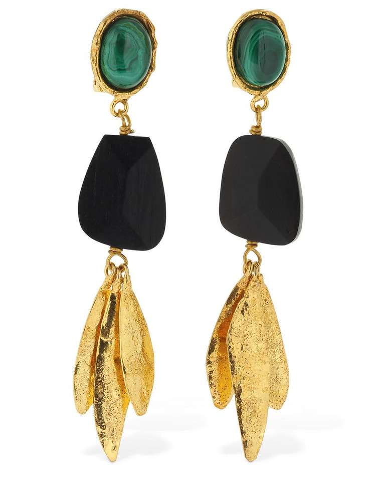 SYLVIA TOLEDANO Ebony Pendant Clip-on Earrings W/stones in gold / multi