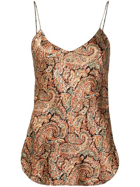 Nili Lotan paisley print silk camisole in brown