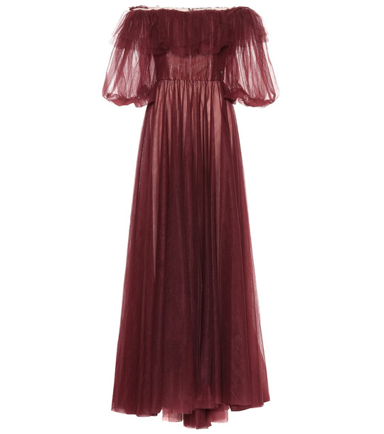 Valentino Off-the-shoulder tulle gown in red