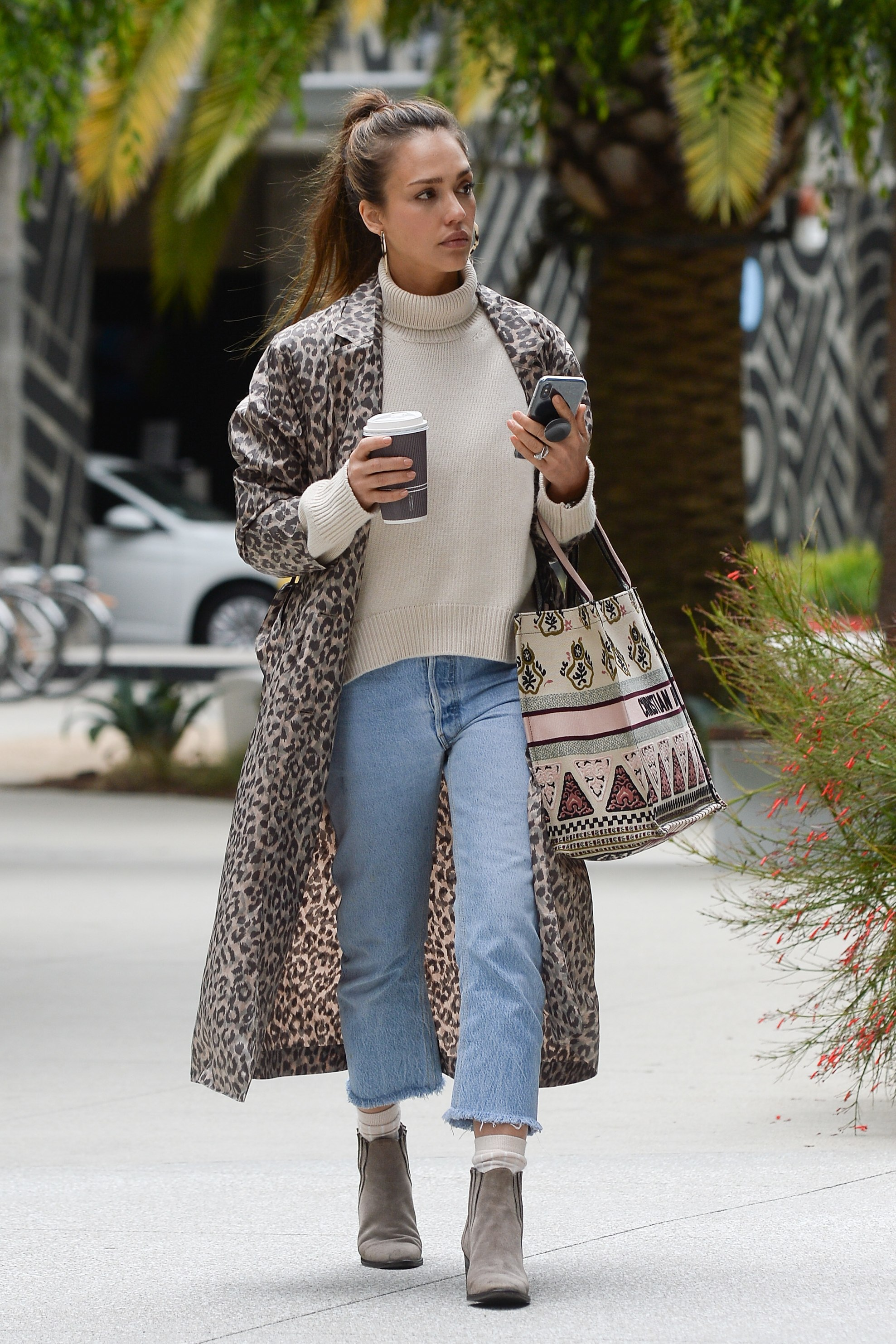 coat animal print animal leopard print jessica alba celebrity spring outfits jeans ankle boots