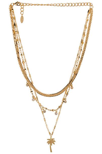 Ettika Layered Palm Tree Necklace in gold / metallic