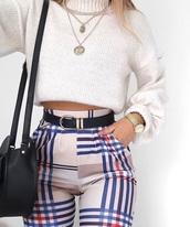 jeans,plaid,pants,trendy,shirt,necklace,belt