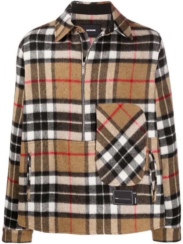 We11done checked half-zip wool shirt in neutrals