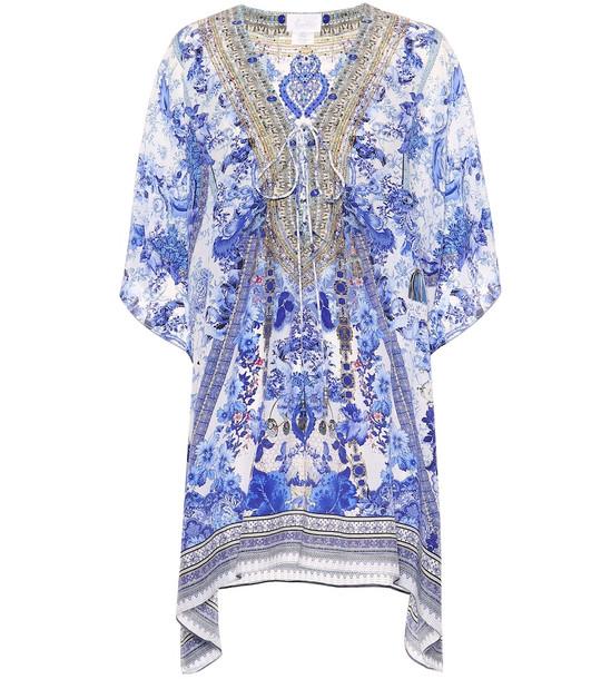 Camilla Printed silk kaftan in blue
