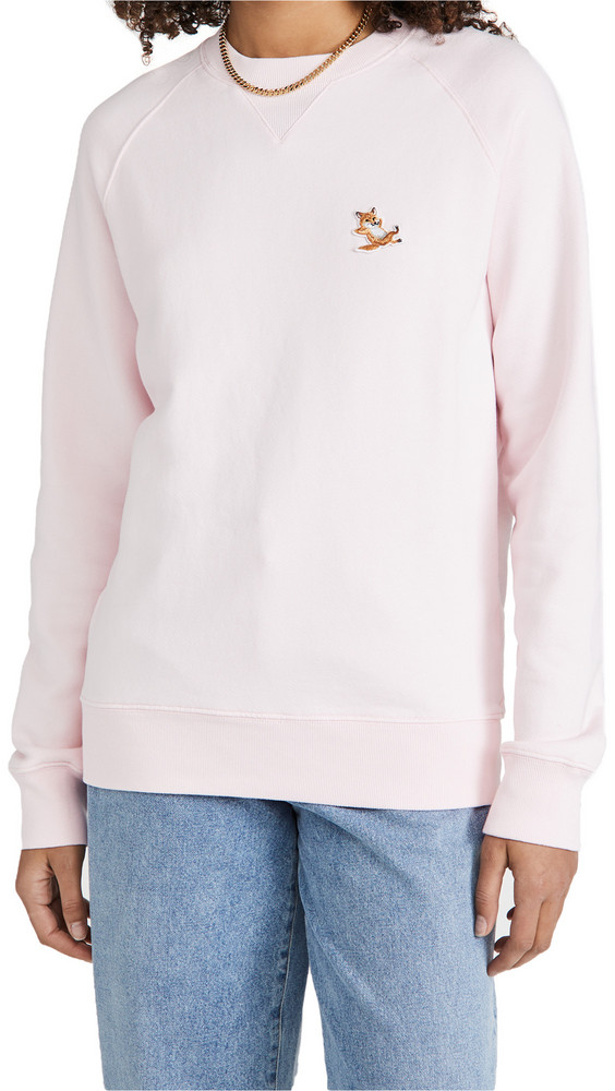 Maison Kitsune Chillax Fox Patch Classic Sweatshirt in pink
