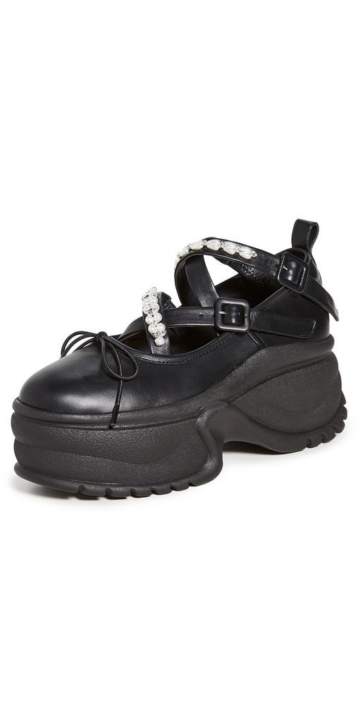 Simone Rocha Track Sole Ballerina Platform Sneakers in black / clear
