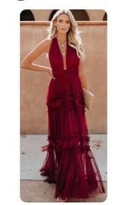 dress,red prom dress,long prom dress,low cut dress