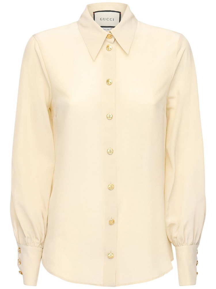 GUCCI Silk Crepe De Chine Shirt W/ Buttons in white