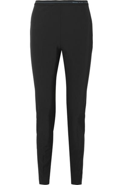 Prada - Logo-detailed Stretch-twill Leggings - Black