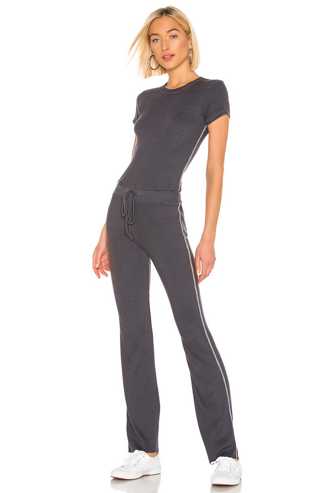 MONROW Rib Fitted Tee Jumpsuit in charcoal