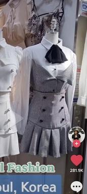 dress,korean fashion,korean style,tie front,white,plaid,long sleeves,fall outfits,print,pretty little liars,korean celebrities,winter outfits