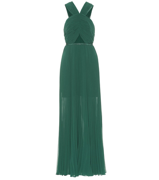 Self-Portrait Pleated chiffon gown in green